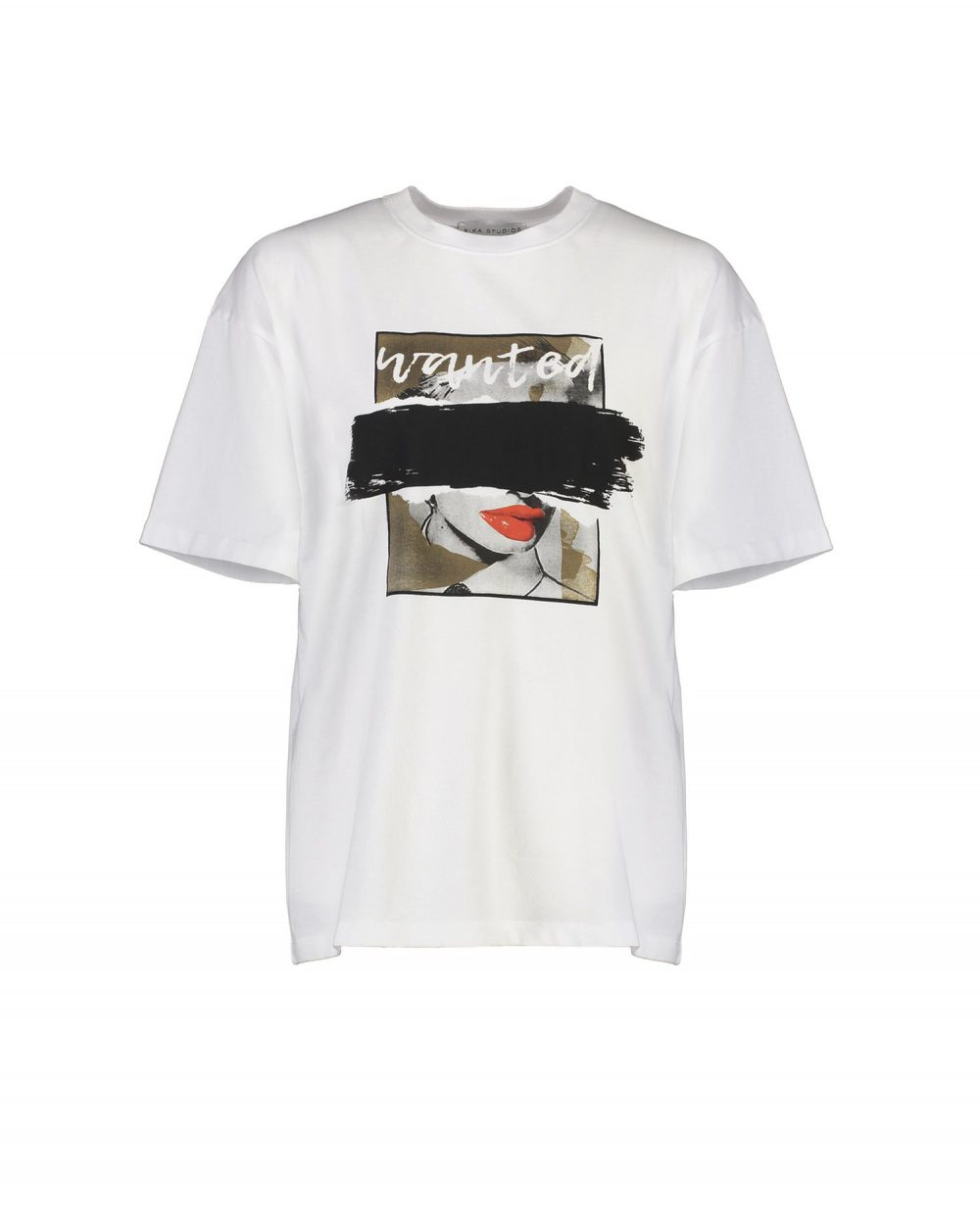 Rika Studios oversized Wanted Tee White:Black
